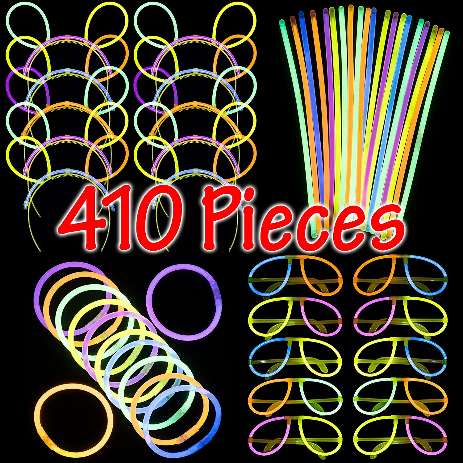 Dragon Too Glow in The Dark Party Supplies - 410 Pieces - Includes Connectors to Create Necklaces, Bracelets, Glasses and Headbands - Glow in The Dark Party Favors