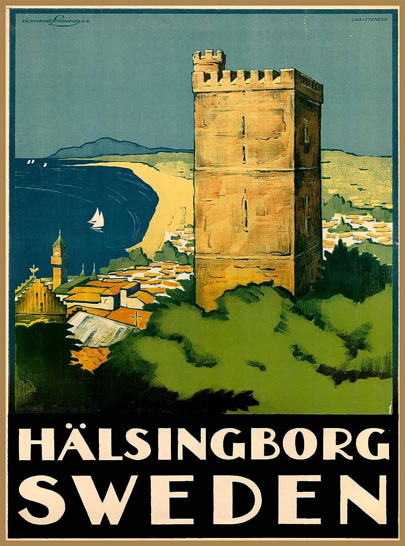 A SLICE IN TIME Hälsingborg Helsingborg Sweden Scandinavia Scandinavian Swedish Vintage Travel Advertisement Art Collectible Wall Decor Poster Print. Measures 10 x 13.5 inches