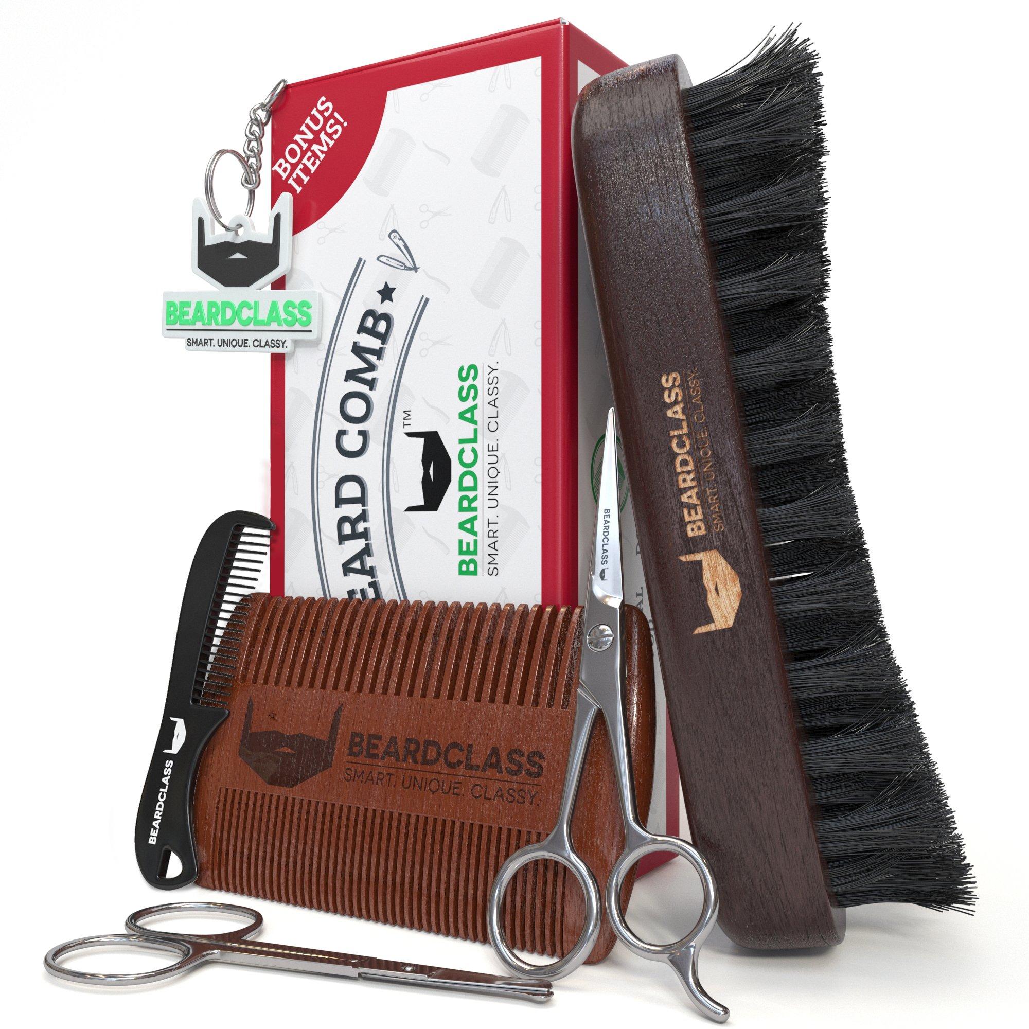 BEARDCLASS Beard Comb and Brush for men - 2 in 1 Dual Sided for Long and Short Beards - Bonus Items: Beard Brush, Beard Scissors, Mustache Scissors and Small Comb Set - 100% Natural Sandalwood