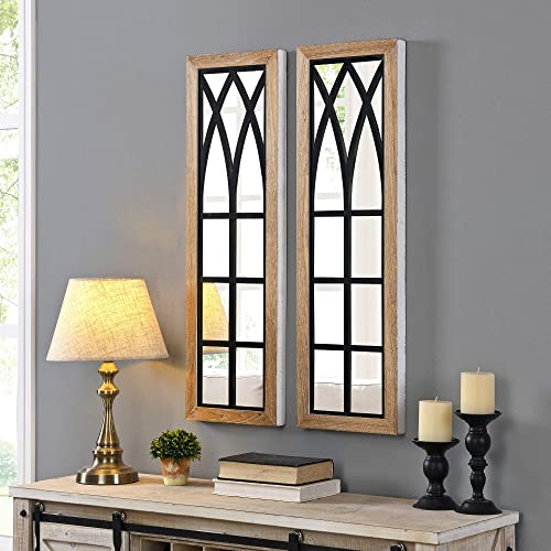 FirsTime Co. Florence Farmhouse Arch Mirror 2-Piece Set, American Crafted, Rustic Brown, 11 x 1.5 x 36 ,