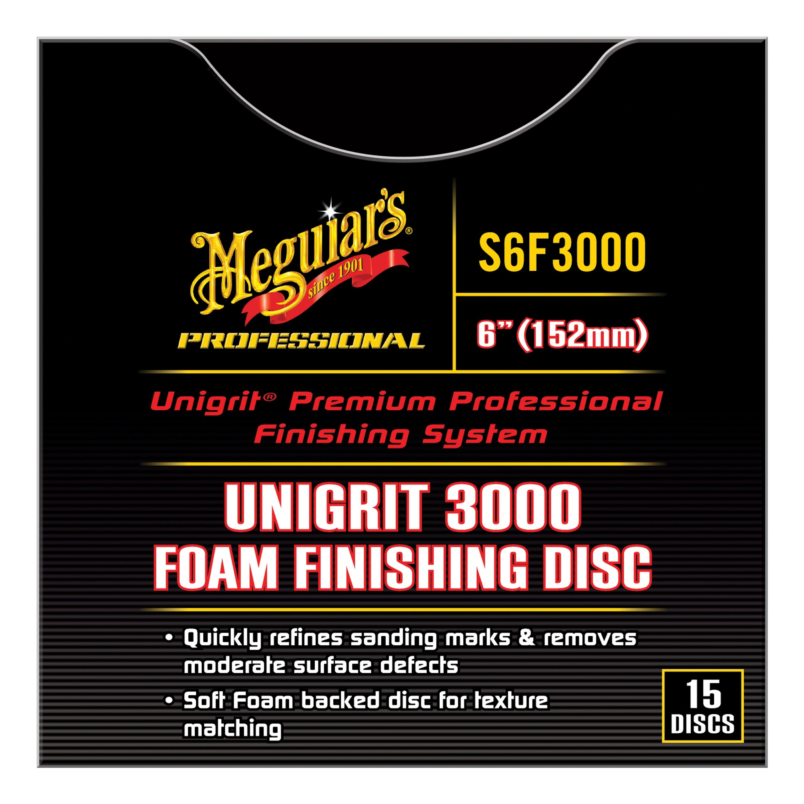 Meguiar's S6F3000 Unigrit 3000 6'' Foam Finishing Discs 15 Pack