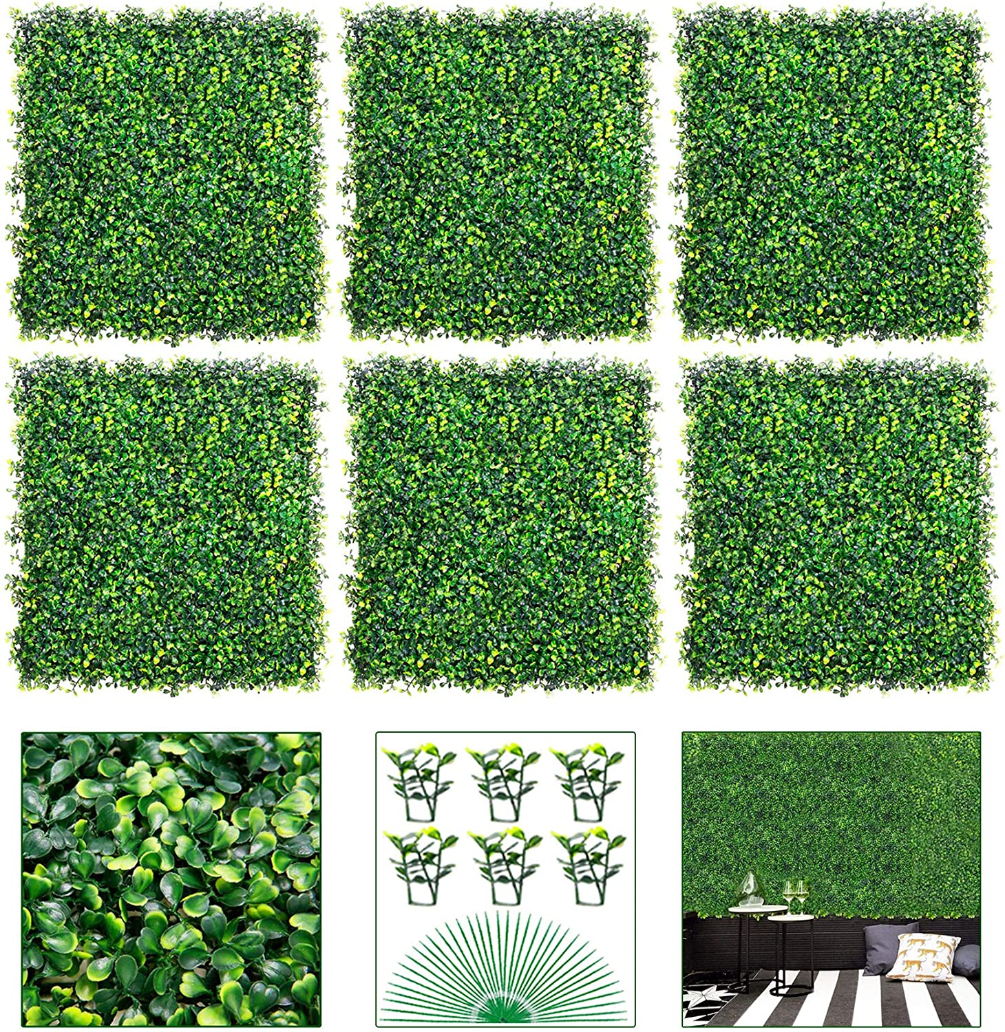 """VegasDoggy 6 PCS 20""""x20"""" 16.67 Square Artificial Boxwood Grass Backdrop Panels Topiary Hedge Plant, UV Protected Privacy Hedge Screen Faux Boxwood for Outdoor, Indoor, Garden, Fence, Backyard"""