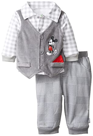 6a82de64e Amazon.com: Disney Baby Boys Mickey Mouse 3-Piece Vest Set with Collared  Shirt and Pants, Gray, 0 3 Months: Clothing