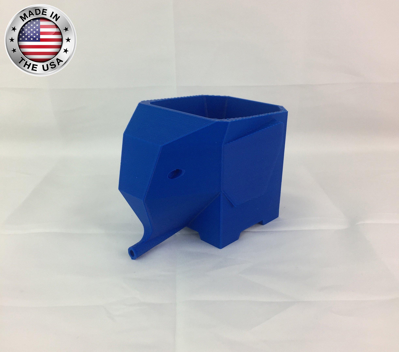 FastLab - Cute Elephant Design Plastic Drainer Storage Holder Box for Home Kitchen, Bathroom, Toothbrush (Blue)