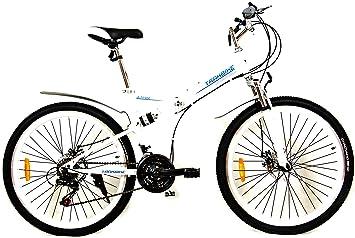 Trakbike Altitude compacto montaña plegable para bicicleta | BLANCO | 21 velocidades Shimano | FRENOS DE