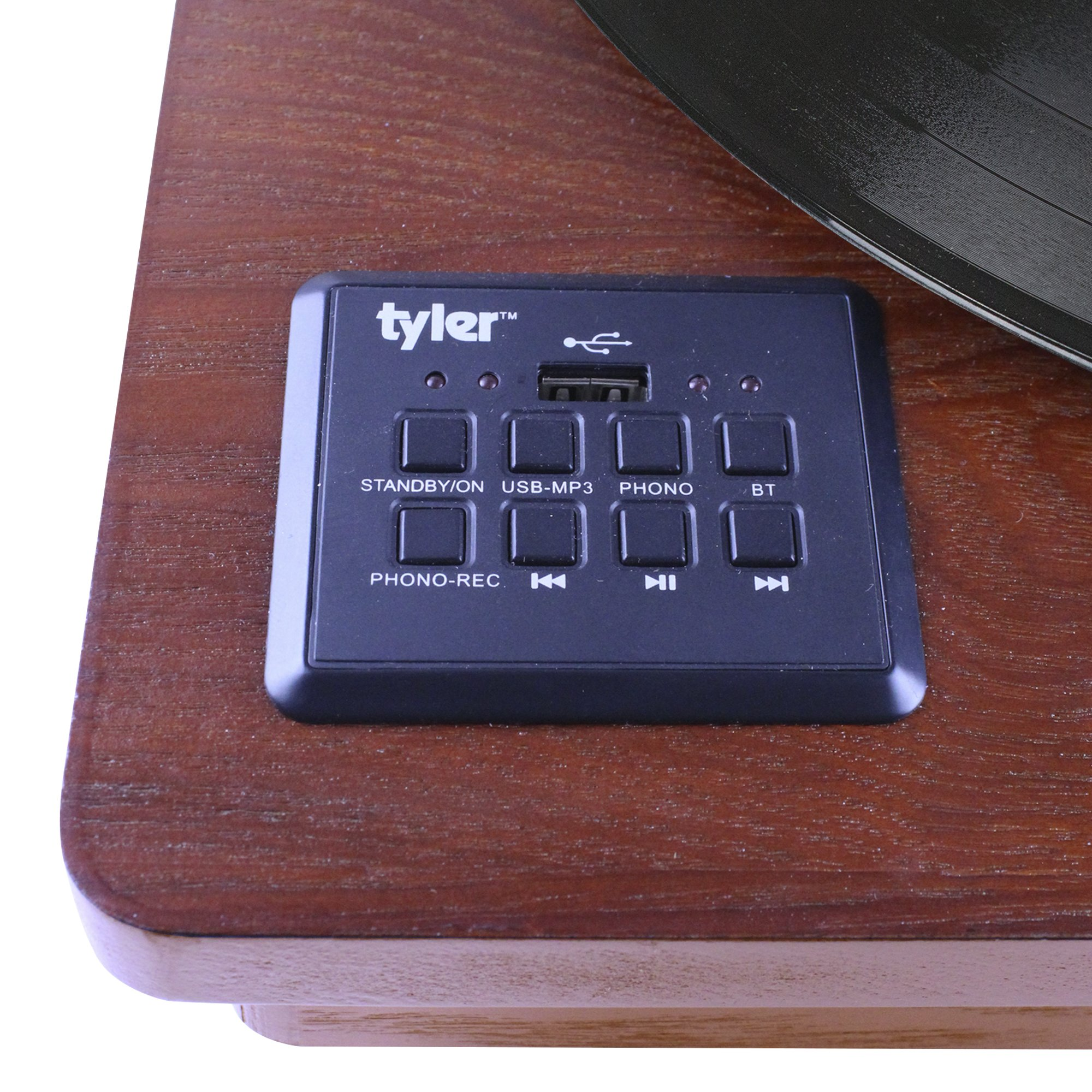 Tyler TTT603-MH Mahogany Record Player Stereo System with Built-in Speakers, MP3 Player and USB Recording, Bluetooth, Headphone & Aux Input, RCA Line-Out