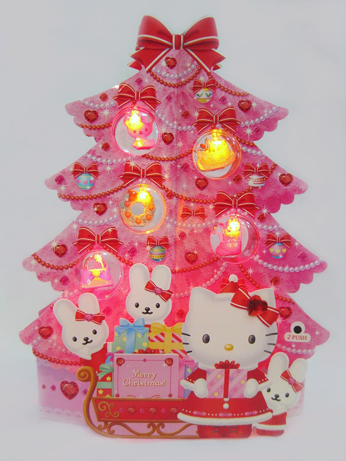 Hello Kitty Pink Christmas Tree Card Lights 16 Christmas Melodies Pop Up 3d Decorative Christmas Card