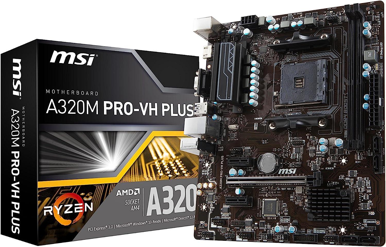 MSI ProSeries AMD Ryzen A320 DDR4 VR Ready HDMI USB 3 micro-ATX Motherboard (A320M PRO-VH PLUS)