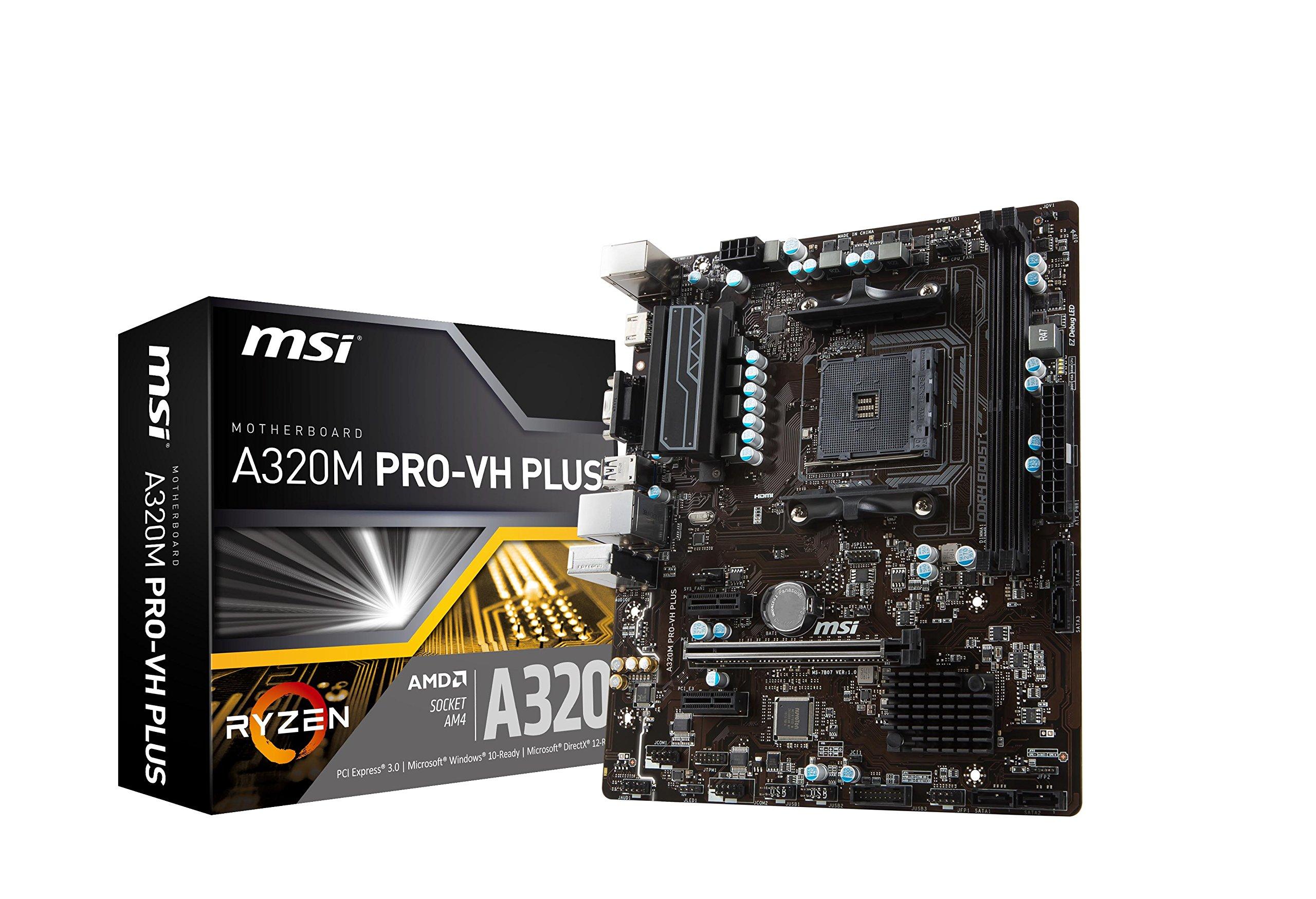 MSI ProSeries AMD Ryzen A320 DDR4 VR Ready HDMI USB 3 micro-ATX Motherboard (A320M PRO-VH PLUS) by MSI