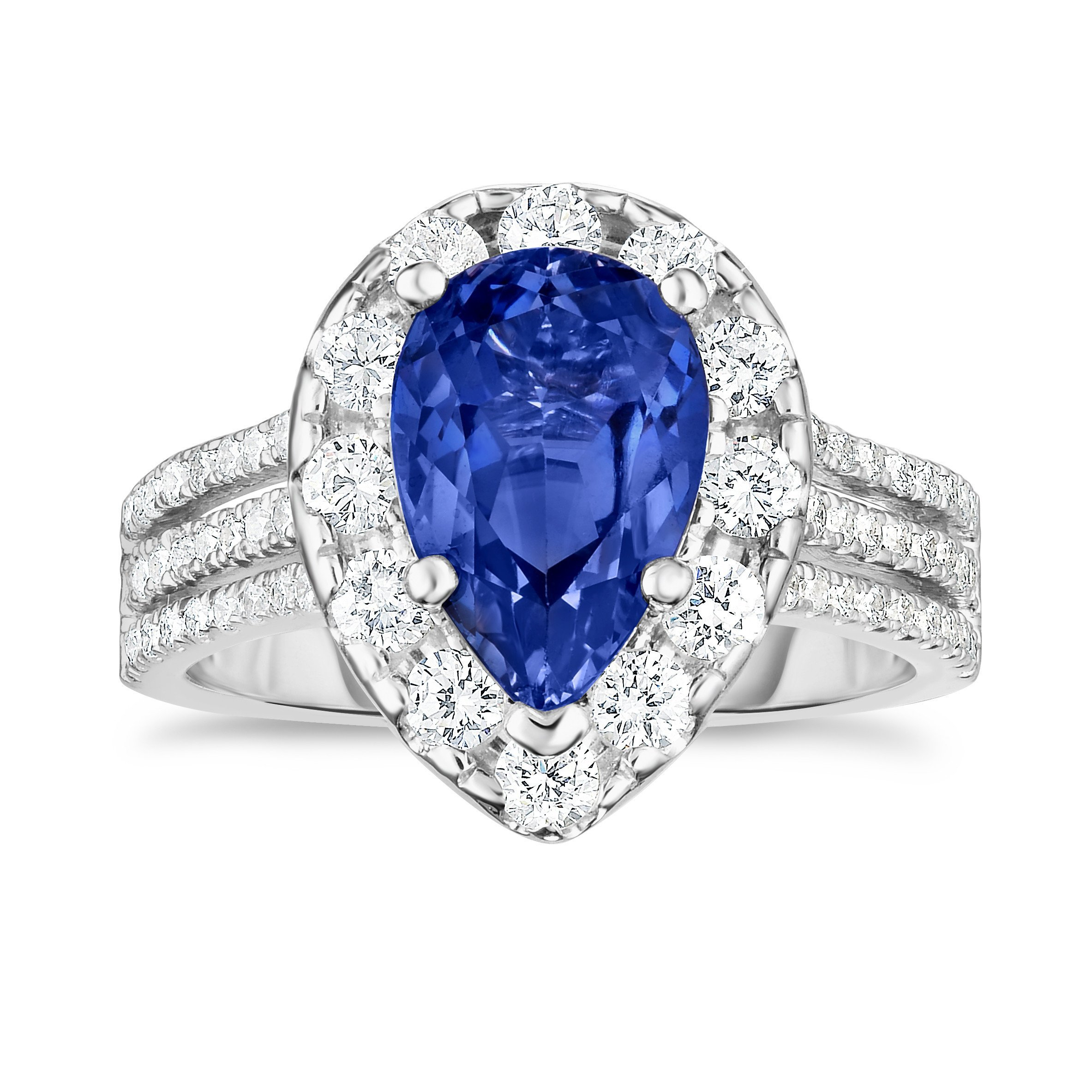 Noray Designs 14K White Gold Tanzanite & Diamond (1.50 Ct, G-H Color, SI2-I1 Clarity) Engagement Ring
