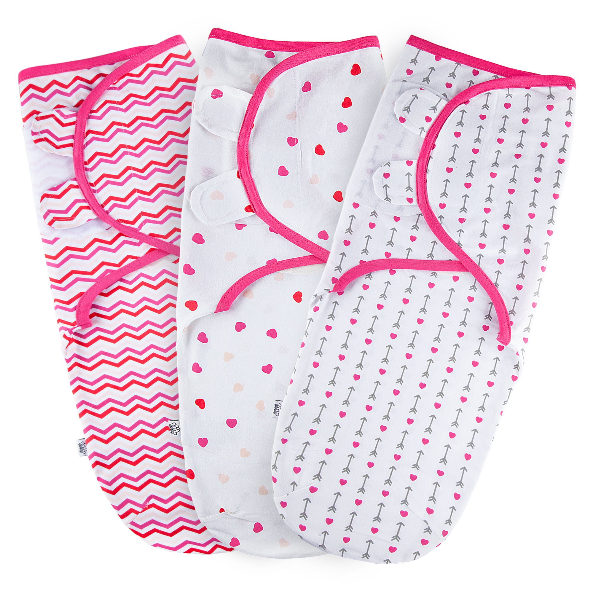 Baby Swaddle Wrap for Newborn Girls   3 Set of Adjustable Infant Blanket with Fastener Straps   Breathable Soft Cotton   0-3 Month