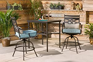 Hanover MCLRDN3PCBRSW2-BLU Montclair 3 Piece High-Dining Set, Ocean Blue Outdoor Furniture