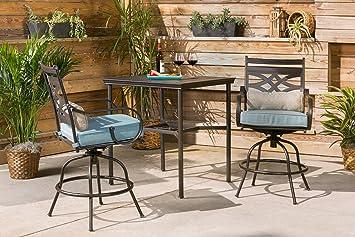 hanover mclrdn3pcbrsw2 blu montclair 3 piece high dining set ocean blue outdoor furniture