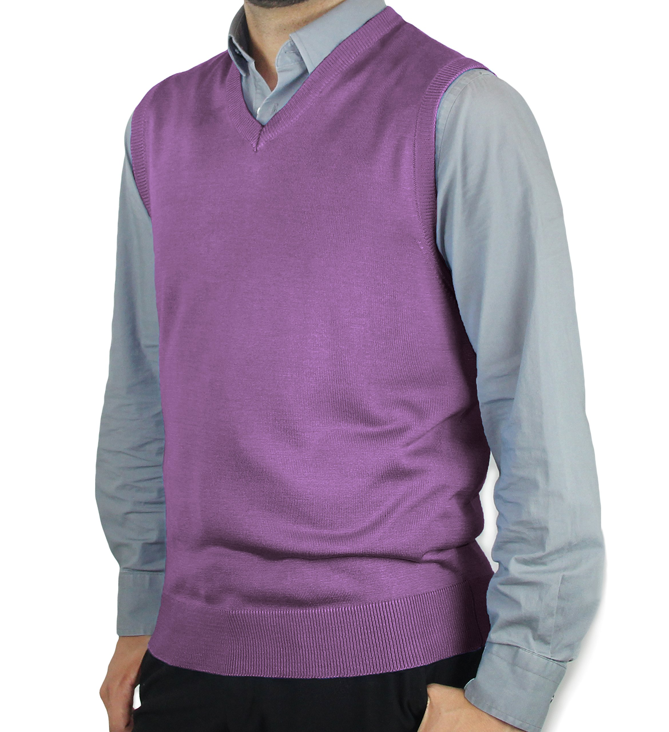 Blue Ocean Solid Color Sweater Vest-Small