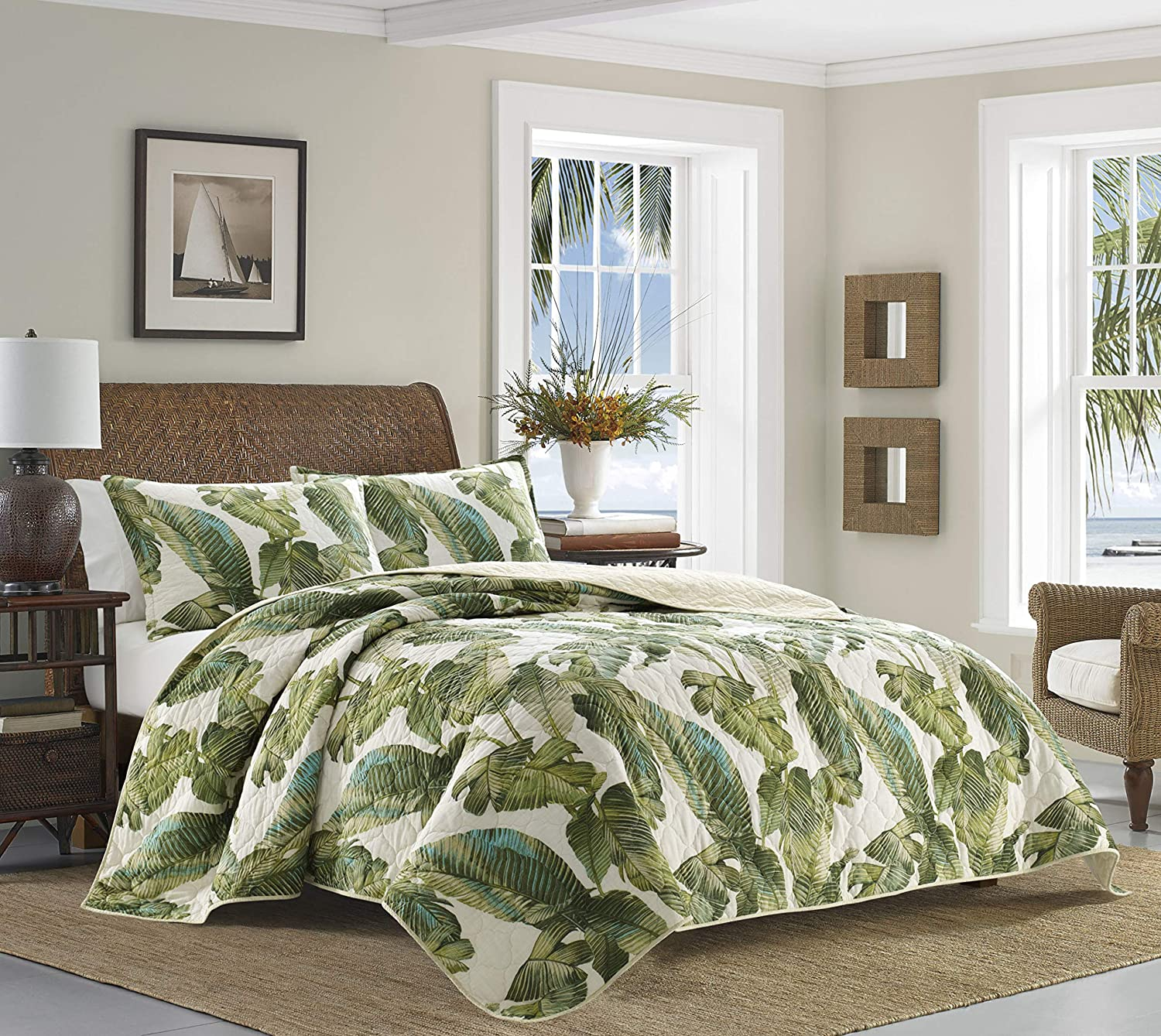 Tommy Bahama | Fiesta Palms Bedding Collection | Luxury Quality Ultra Soft Cotton Quilt Coverlet 3 Piece Set, Comfortable & Stylish Design for Home Décor, King, Green