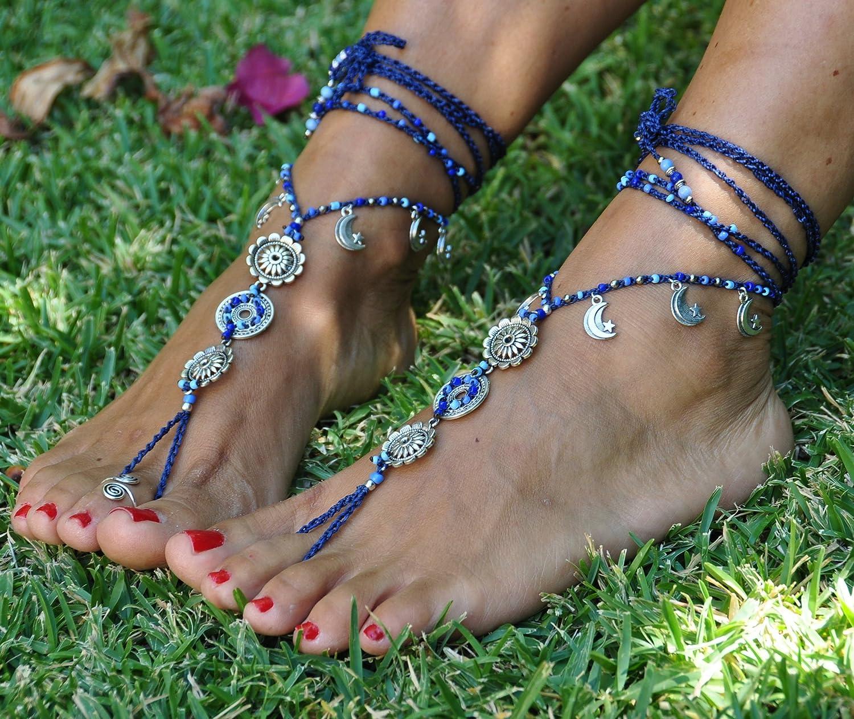 Pano Para Tanto Silver Moon Mandala Barefoot Sandals Boho Foot Jewelry