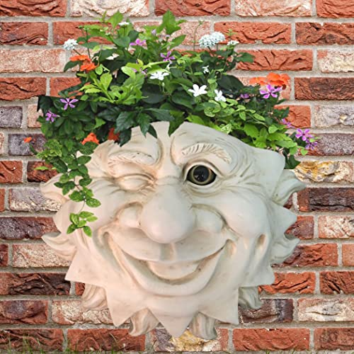 Muggly Ant. White Mr. Sun Shine Face Tree Patio Wall Statue Planter