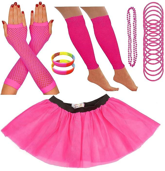 Kit de accesorios rosa flúor para disfraz neón tutú
