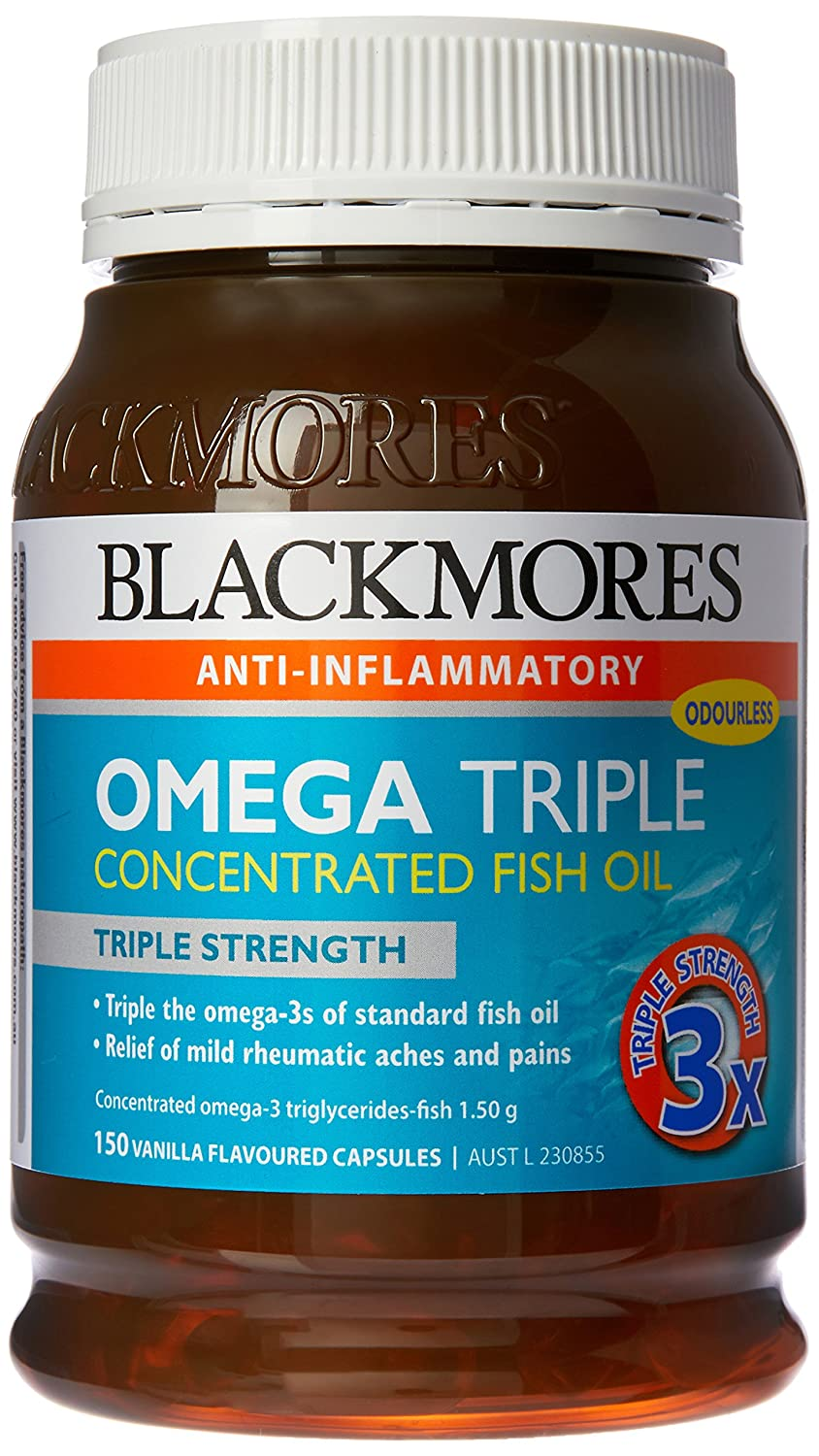 Blackmores Omega Triple Concentrated Fish Oil 150 Capsules Amazon Total Calcium Magnesium D3 200 Tablet Health Personal Care
