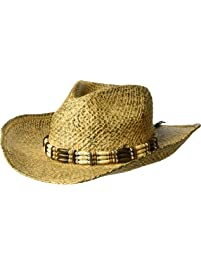 Henschel Burnished Hand Stained Raffia Western Straw Hat with Wooden Beaded Band