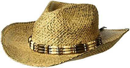 64a06703d02 Henschel Burnished Hand Stained Raffia Western Straw Hat with Wooden Beaded  Band