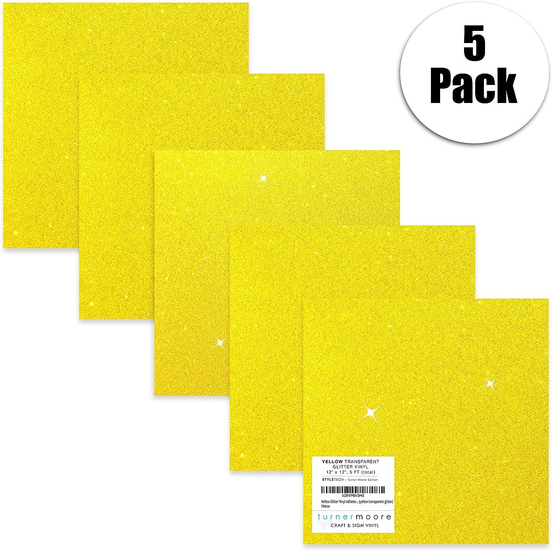Hojas adhesivas de vinilo con purpurina de color amarillo de 30 x ...