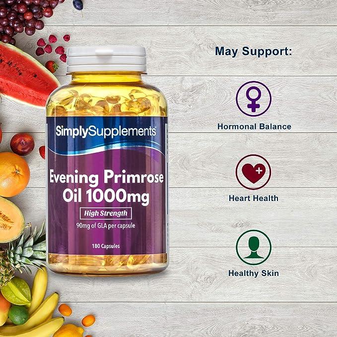 Aceite de Onagra 1000mg - 360 cápsulas - Hasta 1 año de suministro - Para la salud del corazón y el equilibrio hormonal - SimplySupplements: Amazon.es: ...