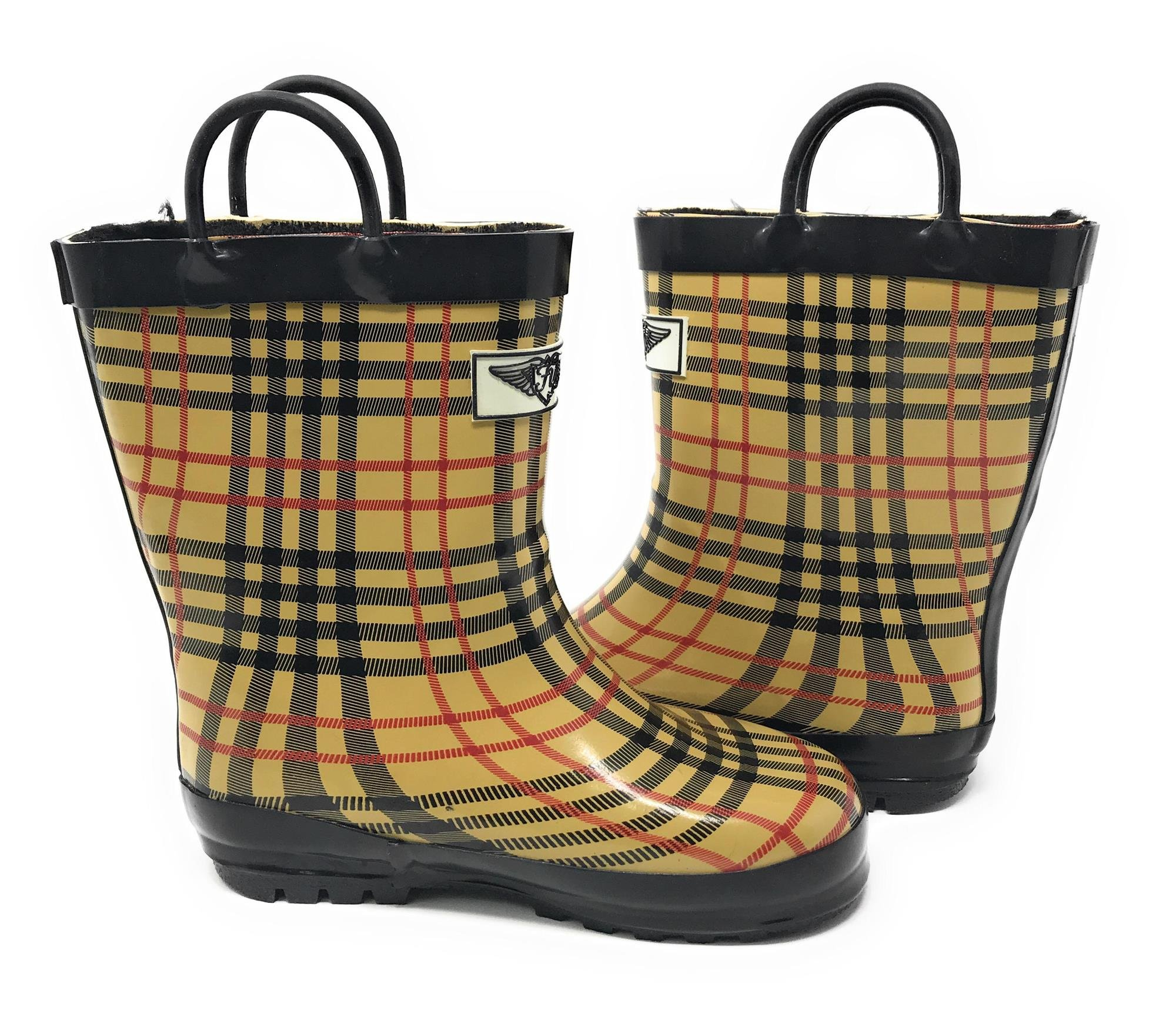 Forever Young Kid's Rubber Pull Up Checker Plaid Print Rainboots, 3, Tan