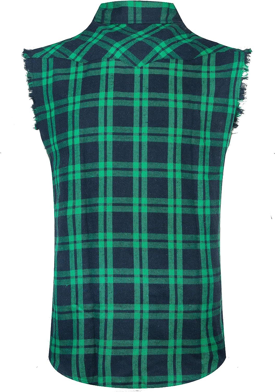 Casual Diversas Tallas por Cada Estilo Camisa de Le/ñador C/ómodo y Moderno para Verano NUTEXROL Camisas de Hombre Camisa a Cuadros Franela Camisas de Vestir Sin Manga