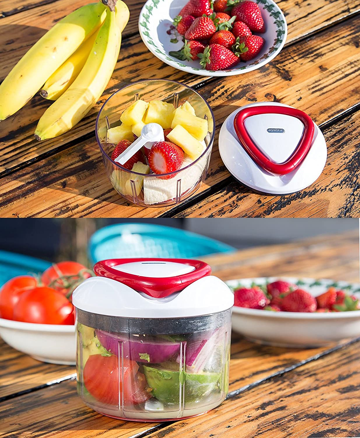 ZYLISS Easy Pull Fruit Chopper and Hand Held Manual Food Processor
