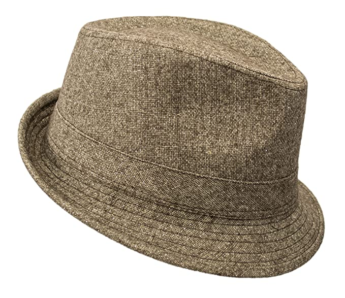 Premium Solid Color Wool Fedora Trilby Hat Shimmer Cuban Cap Derby Short  Brim (Heather Brown 15bc58d0189