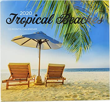 Amazon Com 2 Pack Of 12 Month 2020 Wall Calendars Tropical Beachs Sunsets New Sealed Office Products