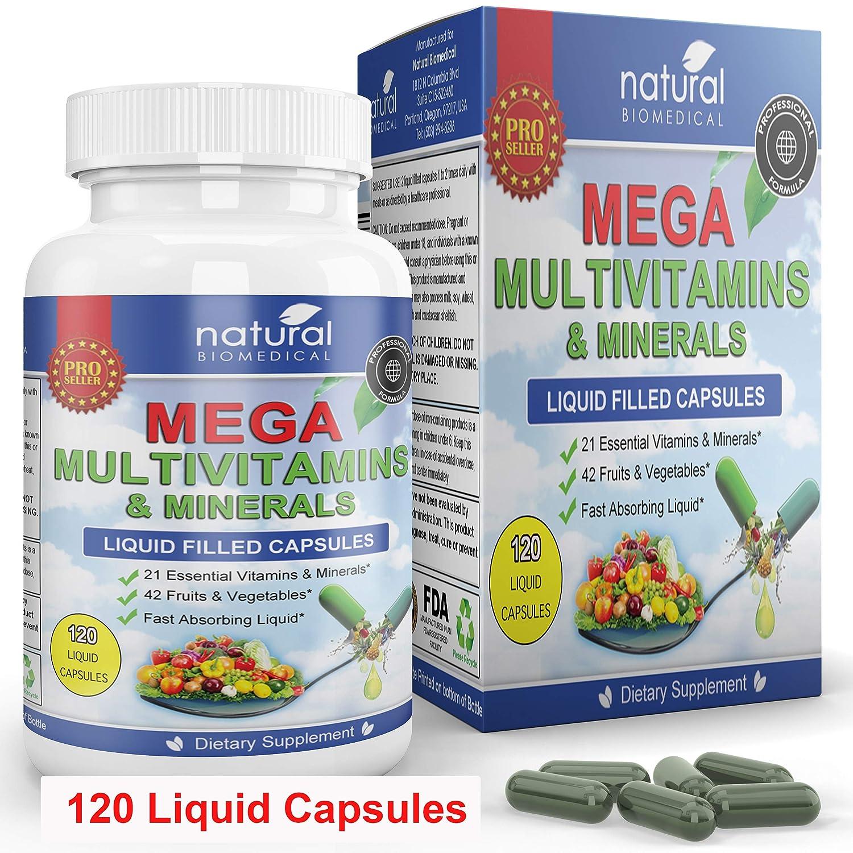 MEGA MULTIVITAMIN Capsules for Women Men - Large 120 Liquid Capsules- Vitamins and Minerals Supplement + Coq10