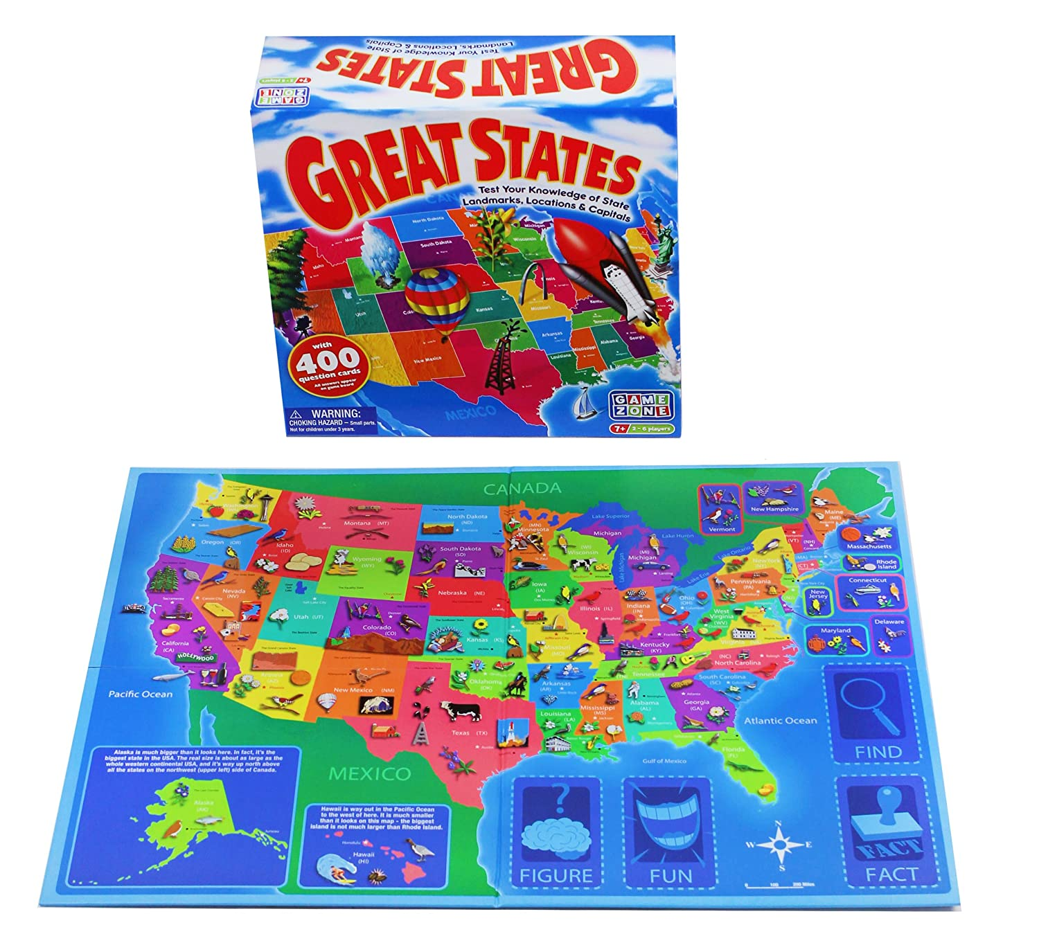 Amazon Game Zone Great States Geography Board Game Toys & Games