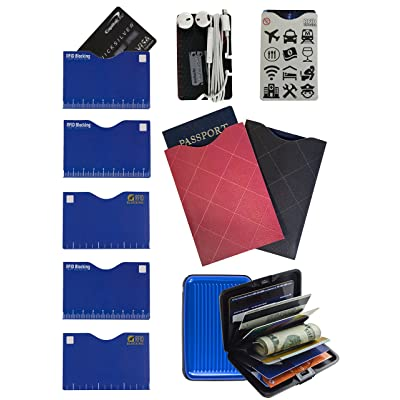 """Identity Theft Personal Data Protection - Passport Protection - RFID blocking - Includes 6 Blocking Sleeves, 2 Passport Blocking Sleeves,1 Protected Aluminum Wallet"" by Gecko Travel Tech – BLUE"