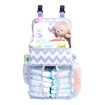 Hanging Diaper Caddy Baby Essentials Organizer For Crib Playard And Changing Table Side Mesh  sc 1 st  Amazon.com & Amazon.com : Hanging Diaper Caddy Baby Essentials Organizer For Crib ...