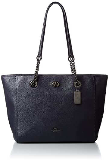 5b8db2415 Amazon.com: COACH Women's Pebbled Turnlock Chain Tote 27 Dk/Navy One ...