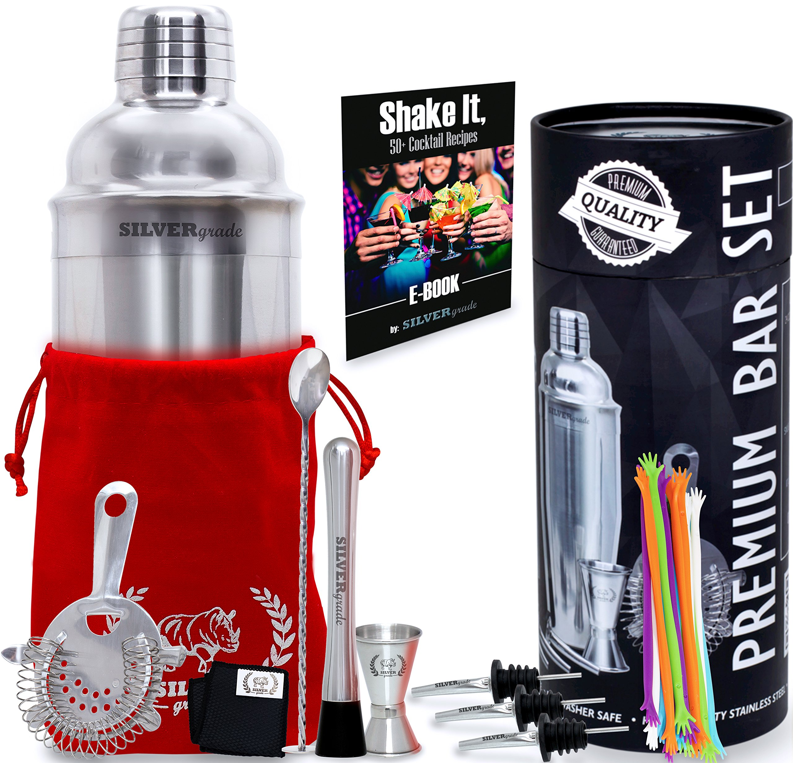 Professional all Inclusive Bartender Kit - Premium Quality- Stainless Steel Construction- Luxury Bag - Cocktail Shaker and all the Accessories you Need - Perfect Addition To Your Home Bar Collection by SILVERgrade