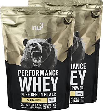 nu3 Performance Whey Protein - 2kg de suero en polvo sabor vainilla con 74.9% de proteína - Con aminoácidos BCAAs + proteína aislada (isolate) - ...