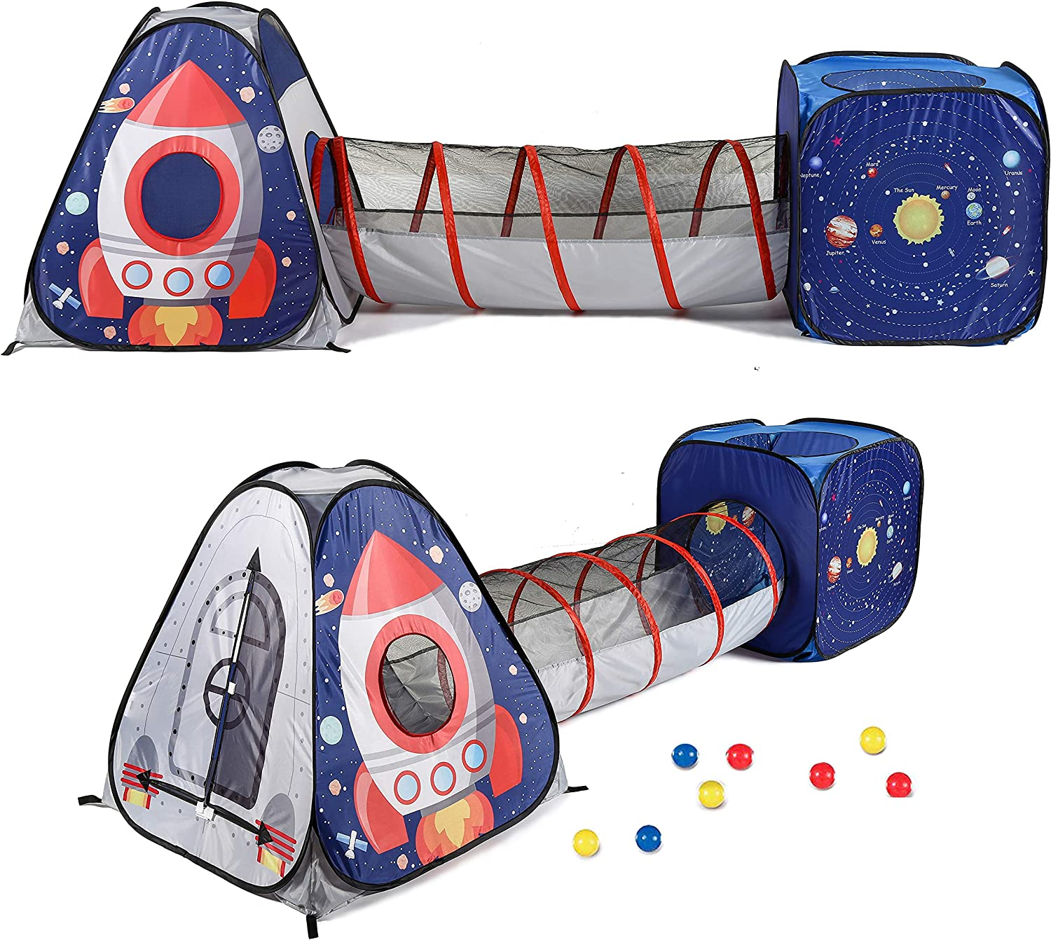 UTEX 3pc Space Astronaut Kids Play Tent, Pop Up Play Tents with Tunnels for Kids, Boys, Girls, Babies and Toddlers, Indoor/Outdoor Playhouse –Stem Inspired Design W/Solar System & Planet