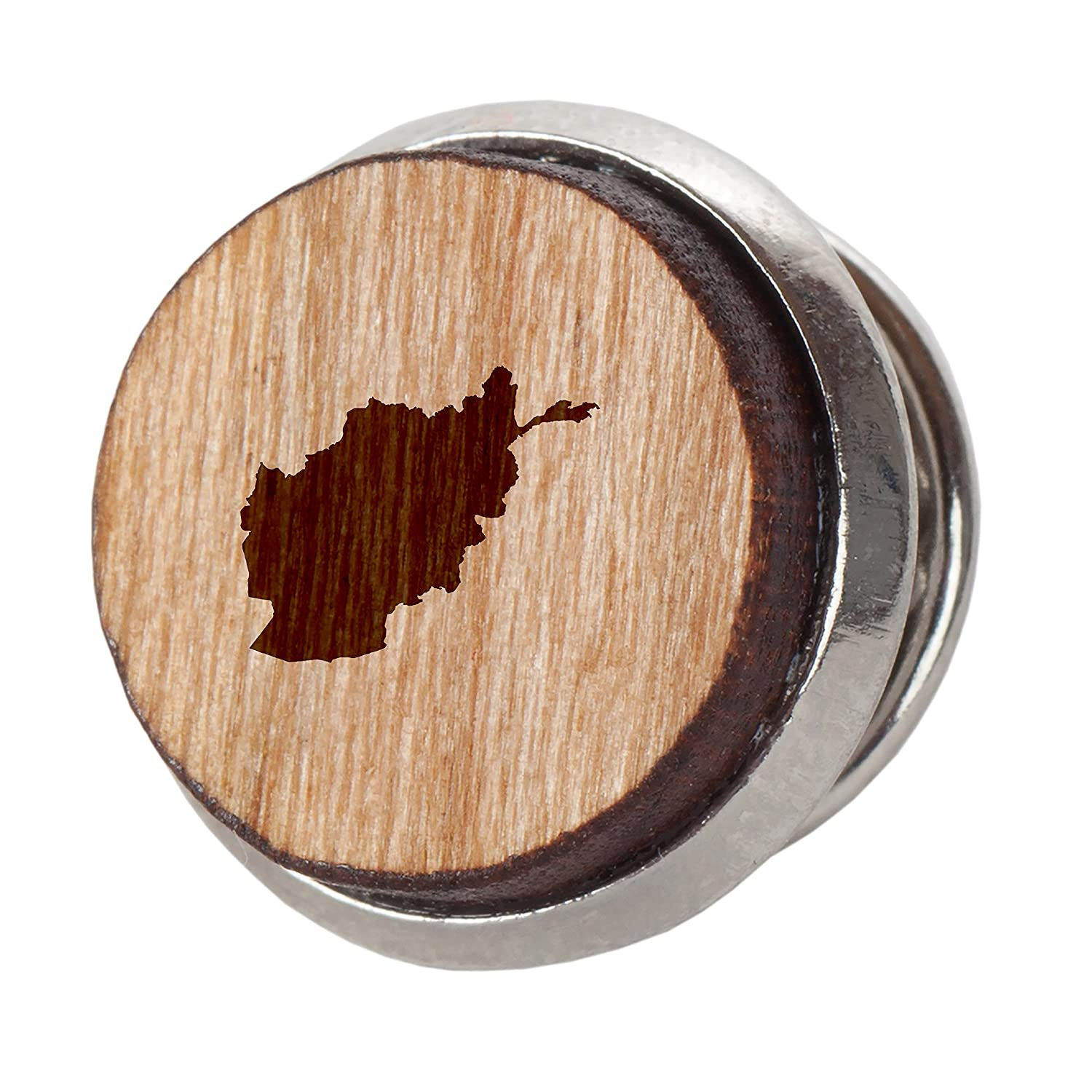 Engraved Tie Tack Gift Afghanistan Stylish Cherry Wood Tie Tack 12Mm Simple Tie Clip with Laser Engraved Design