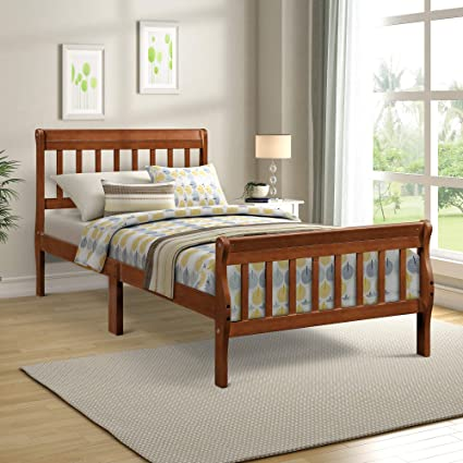 Wood Platform Bed Twin Bed With Headboardfootboardwood Slat Support For Bedroom Antique Walnut