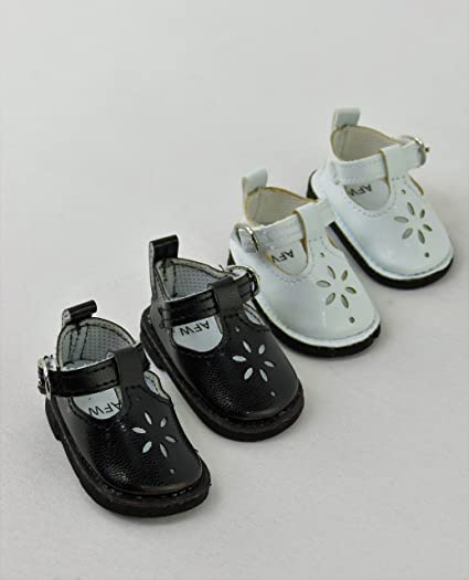 16f43734962e American Fashion World 2 Pack of Mary Janes with Buckles: White and Black|  Fits
