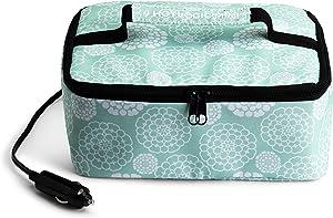 HOTLOGIC Portable Personal 12V Mini Oven, Aqua Floral