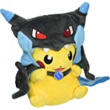 "Mega Charizard X Plush Toy Pokemon Pikazard Pikachu Open Mouth Cloak Blue Stuffed Animal Soft Figure Doll 8"""