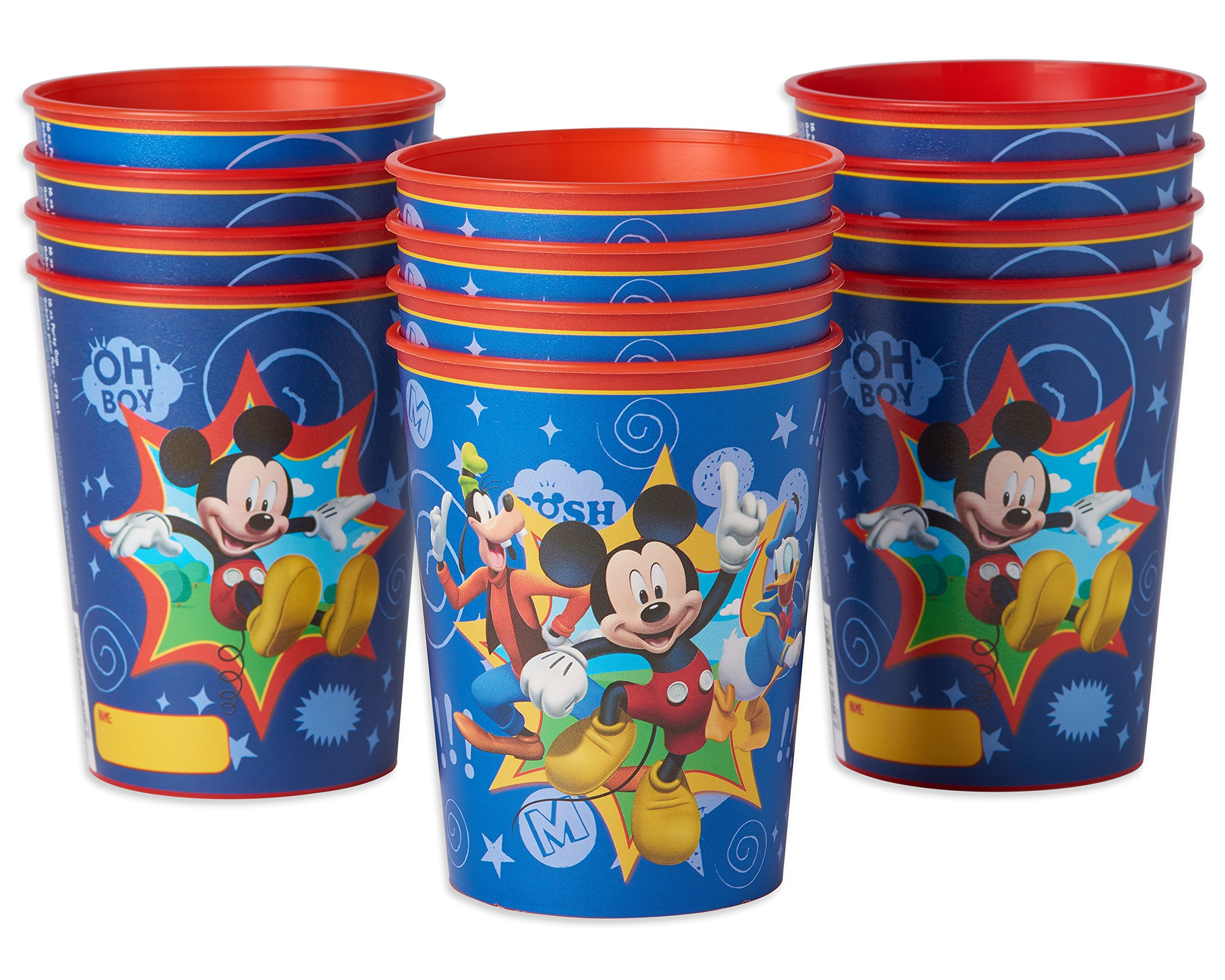 American Greetings Mickey Mouse Plastic Party Cups (12 Count), 16 oz