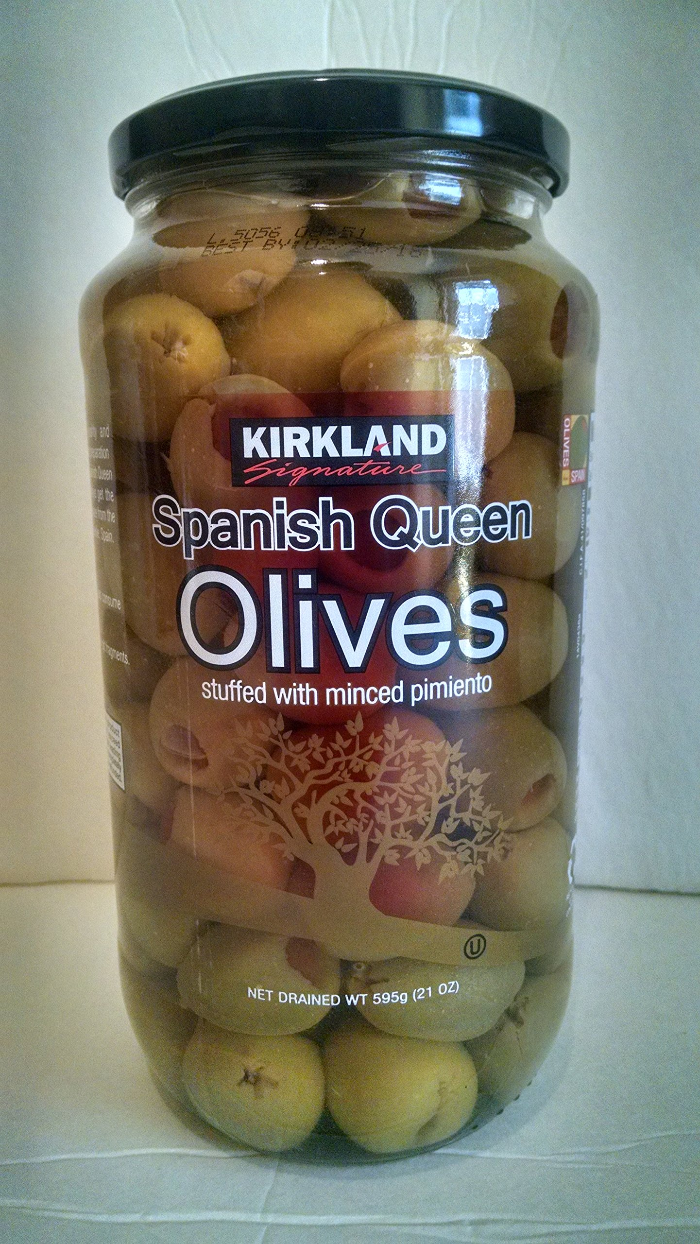 Kirkland Signature Spanish Queen Olives Stuffed with Pimiento 21 Oz Net Drained Wt.