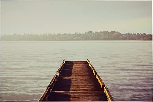 Amazon Brand Rivet Wooden Dock at The Lake Canvas Print Wall Art