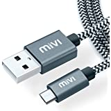 Mivi 6ft long Nylon Tough Micro USB Cable with charging speeds up to 2.4Amps (Black)