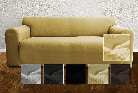 Ambivelle Funda de sofá, Funda Ajustable bielástica, Forro de sofá, Apta para Muchos sofás Normales de 2 plazas (de 130cm – 180cm), Beige